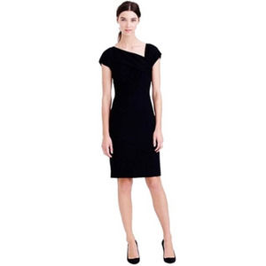 J. Crew Origami Dress in Black Wool Crepe Size 12